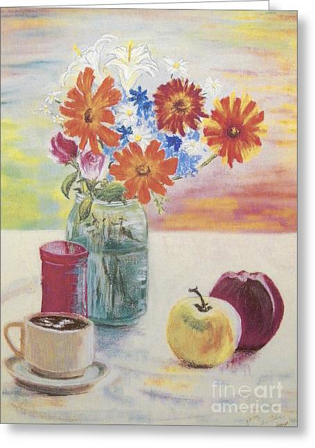 Cup Pastels Greeting Cards - Garden Flowers Greeting Card by Jim Barber Hove