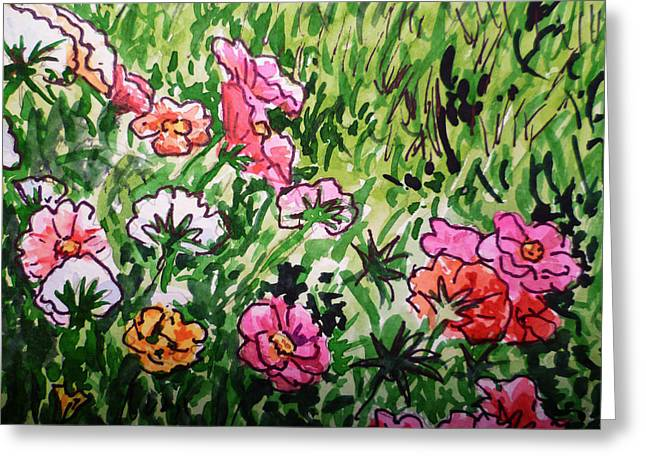 Garden Flowers Sketchbook Project Down My Street Greeting Card by Irina Sztukowski