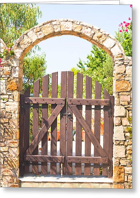 Marble Stone Greeting Cards - Garden gate Greeting Card by Tom Gowanlock