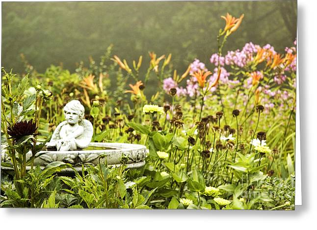 Birdbath Greeting Cards - Garden Greeting Card by HD Connelly