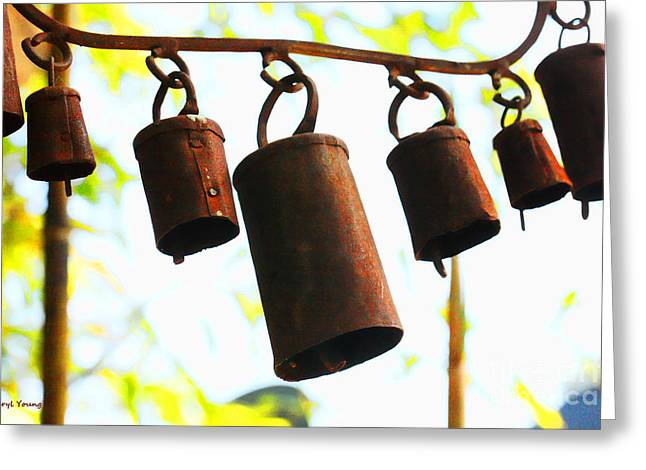 Chimes Greeting Cards - Garden Noah Bells 2 Greeting Card by Cheryl Young