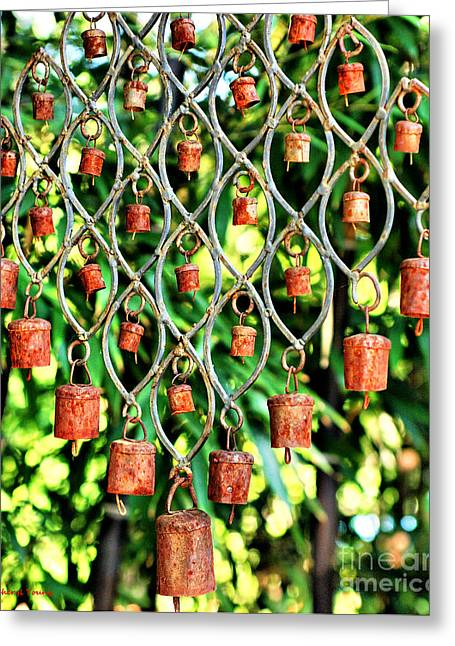 Wind Chimes Greeting Cards - Garden Noah Bells Greeting Card by Cheryl Young