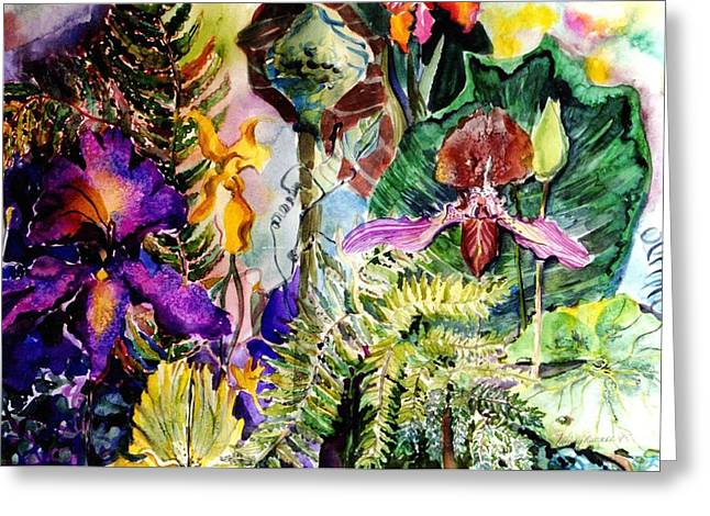 Water Garden Drawings Greeting Cards - Garden of the Mind Greeting Card by Mindy Newman