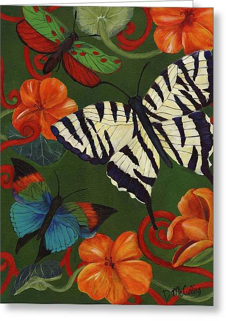 Zebra Pictures Greeting Cards - Garden Party III Greeting Card by Debbie McCulley