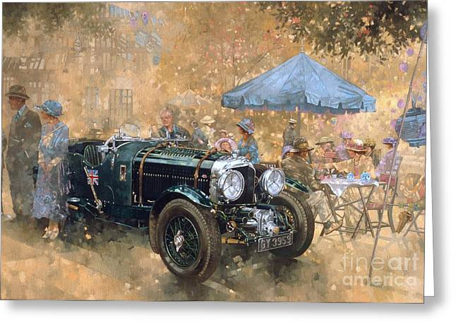Vintage Cars Greeting Cards - Garden party with the Bentley Greeting Card by Peter Miller