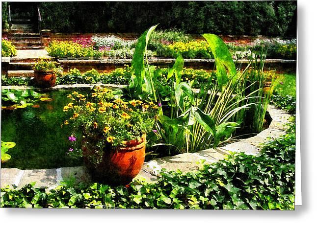 Water Gardens Greeting Cards - Garden Pond Greeting Card by Susan Savad