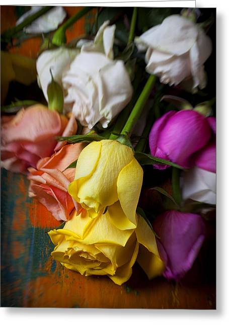 Yellow Flower Scent Greeting Cards - Garden Roses Greeting Card by Garry Gay