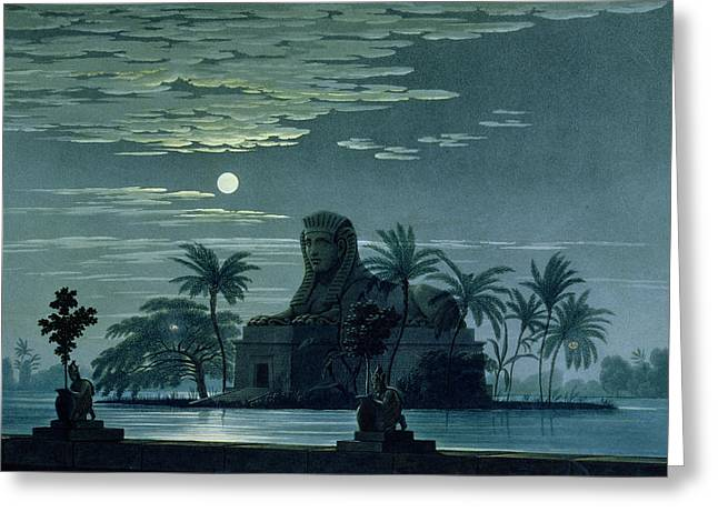 Mozart Greeting Cards - Garden scene with the Sphinx in moonlight Greeting Card by KF Schinkel