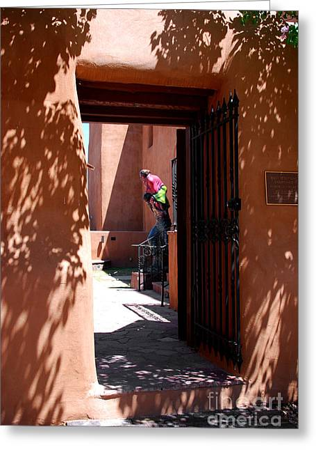Pueblo Architecture Greeting Cards - Garden Sculptures Museum of Art in Santa Fe NM Greeting Card by Susanne Van Hulst