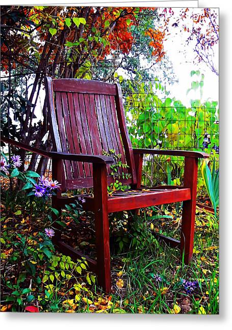 Lawn Chair Greeting Cards - Garden Seating Greeting Card by Pamela Patch