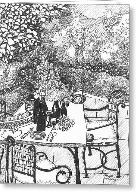 Wine Scene Drawings Greeting Cards - Garden Table Greeting Card by Jo Anna McGinnis
