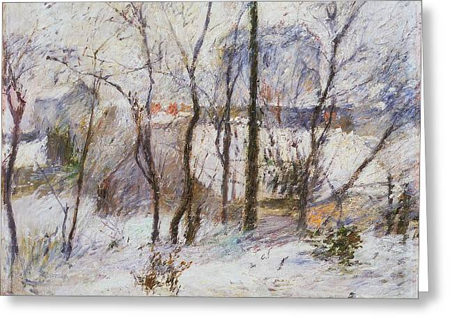 Had Greeting Cards - Garden under Snow Greeting Card by Paul Gauguin
