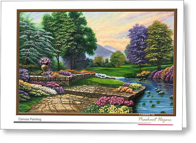 Landscapes Reliefs Greeting Cards - Garden view 2 Greeting Card by Interior Aishwarya