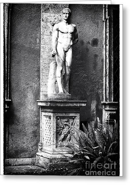 Roman Statue Greeting Cards - Garden Watcher Greeting Card by John Rizzuto