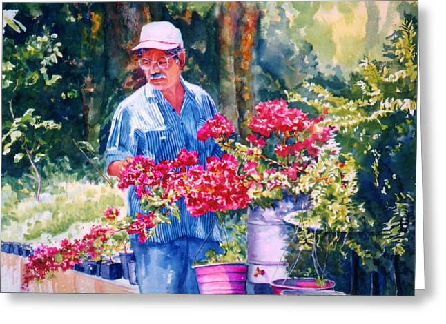 Reproducciones Tropicales Greeting Cards - Gardener Greeting Card by Estela Robles