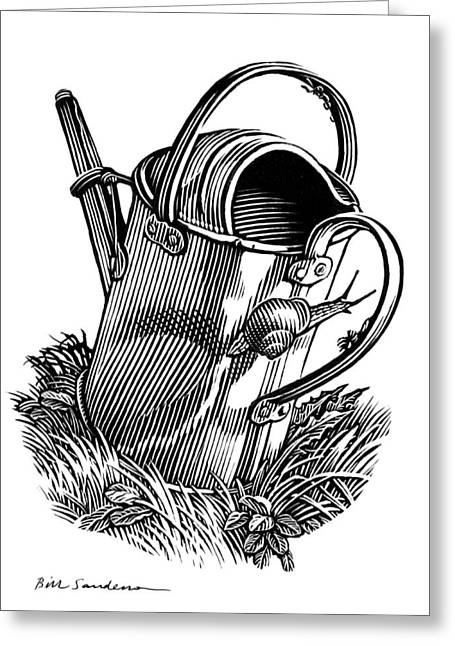 Linocut Greeting Cards - Gardening, Conceptual Artwork Greeting Card by Bill Sanderson