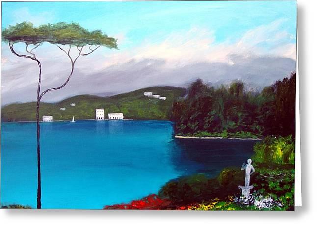 Gardens Of Lake Como Greeting Card by Larry Cirigliano