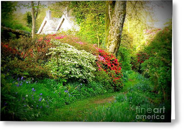 Lainie Wrightson Greeting Cards - Gardens of The Old Rectory Greeting Card by Lainie Wrightson