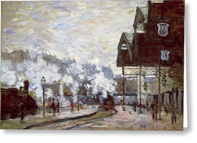 Oil Lamp Greeting Cards - Gare Saint-Lazare Greeting Card by Claude Monet