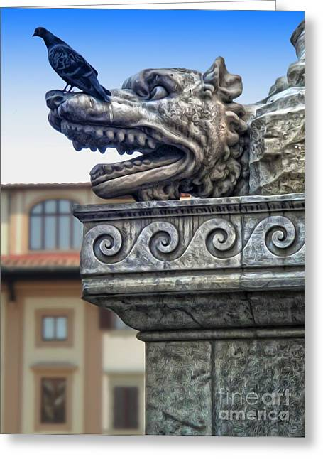 Gargoyle And Pidgeon Greeting Card by Gregory Dyer
