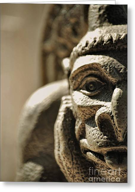Brown Eyes Greeting Cards - Gargoyle Greeting Card by HD Connelly