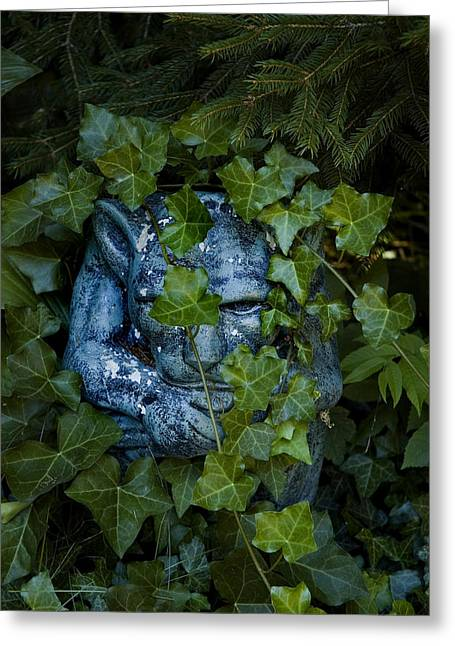 Green Foliage Greeting Cards - Gargoyle Shrouded In English Ivy Greeting Card by Todd Gipstein