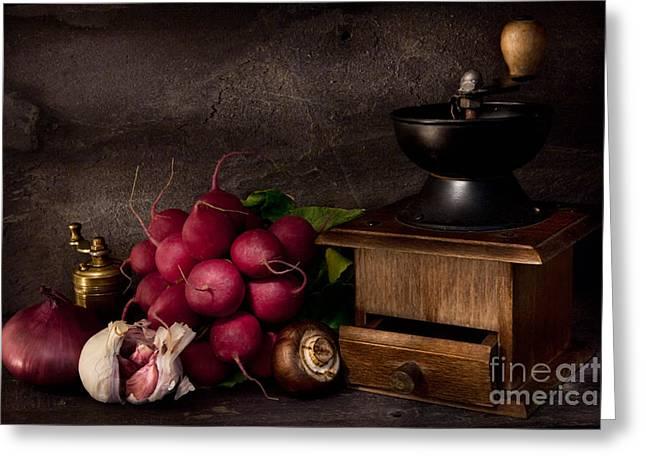 Garlic And Radishes Greeting Card by Ann Garrett