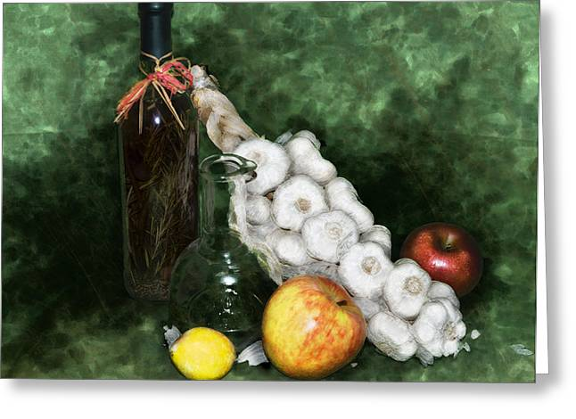 Vinegar Digital Greeting Cards - Garlic And The Apples Greeting Card by Kelly Rader