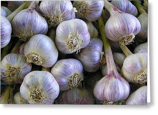 Italian Kitchen Greeting Cards - Garlic Bulbs Greeting Card by Jen White