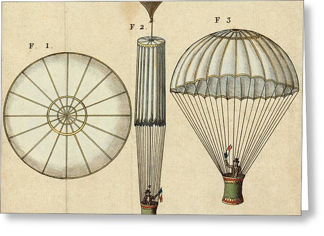 Pioneer Illustration Greeting Cards - Garnerins Parachute Design, 1797 Greeting Card by Library Of Congress