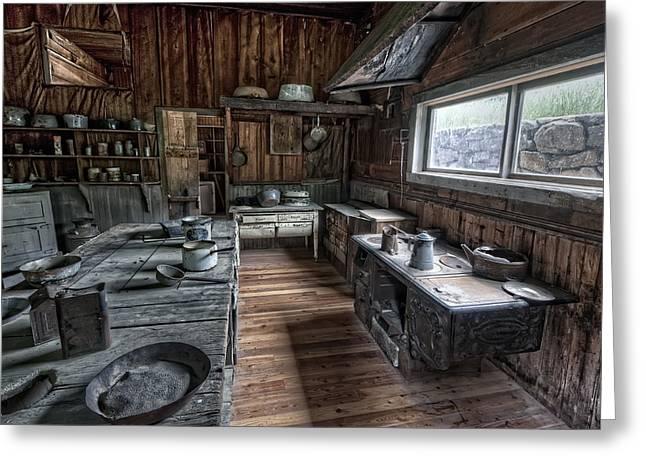 Garnet Greeting Cards - Garnet Ghost Town Hotel Kitchen - Montana Greeting Card by Daniel Hagerman