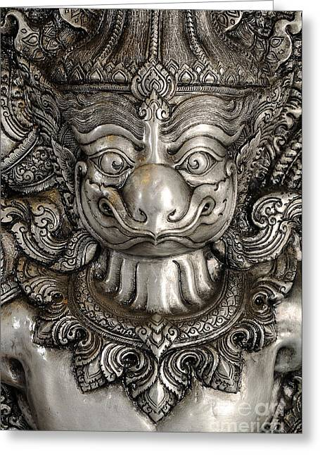 Asia Sculptures Greeting Cards - Garuda silver Greeting Card by Panupong Roopyai