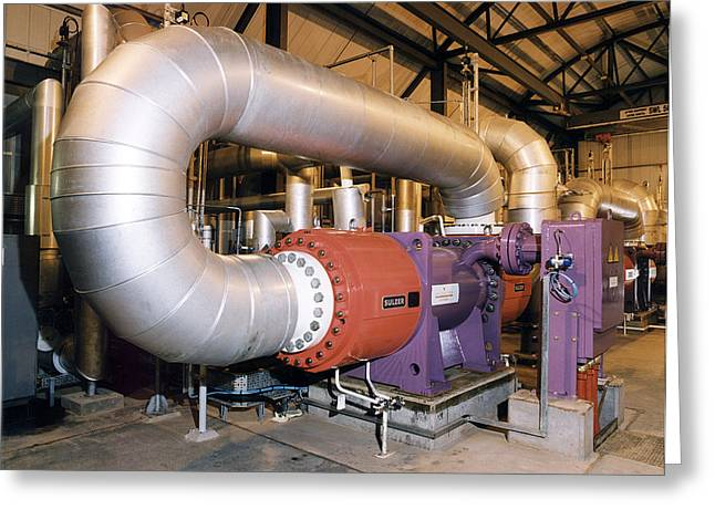 Gas Compressor At An Oil Refinery Greeting Card by Paul Rapson