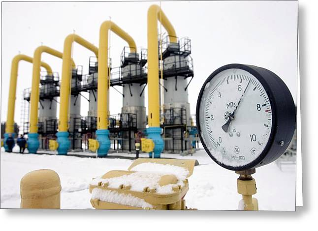 Fuel Gauge Greeting Cards - Gas Compressor Station In Belarus Greeting Card by Ria Novosti