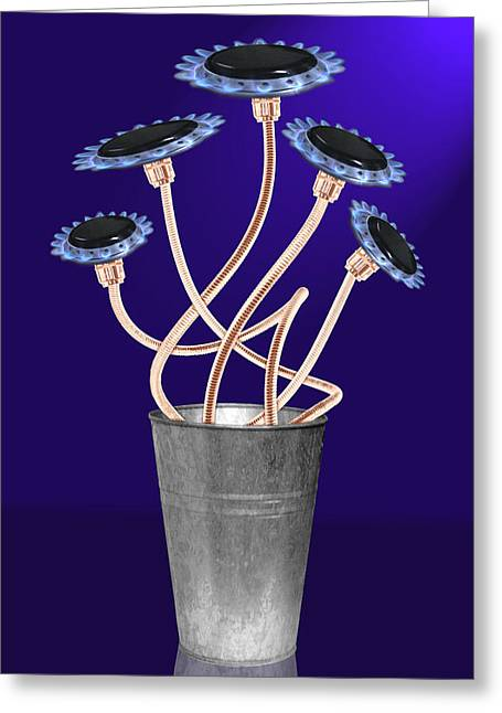 Creative Manipulation Photographs Greeting Cards - Gas Flowers Greeting Card by Alice Gosling