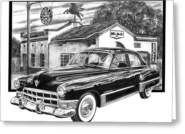 Charcoal Car Greeting Cards - Gas Hog 41 Greeting Card by Peter Piatt