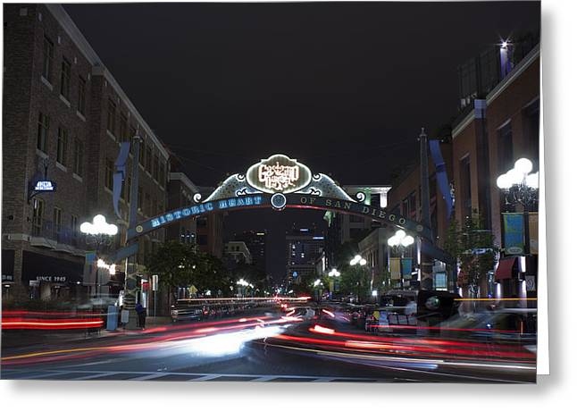 Gas Lamp Disctrict Greeting Card by Benjamin Street