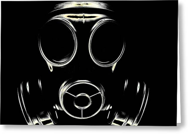 Respirator Greeting Cards - Gas Mask Greeting Card by Kevin Curtis
