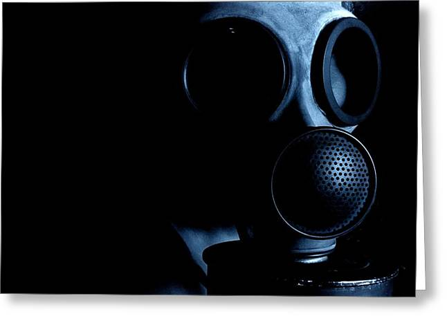 Terrorist Greeting Cards - Gas Mask Greeting Card by Neal Grundy