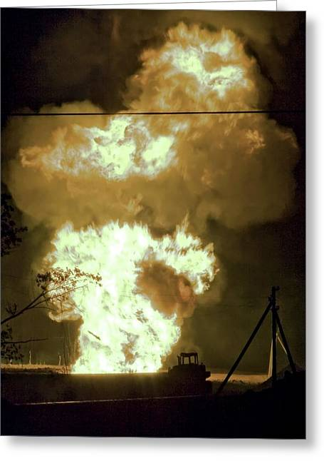 24th Greeting Cards - Gas Pipe Rupture, July 2008 Greeting Card by Ria Novosti