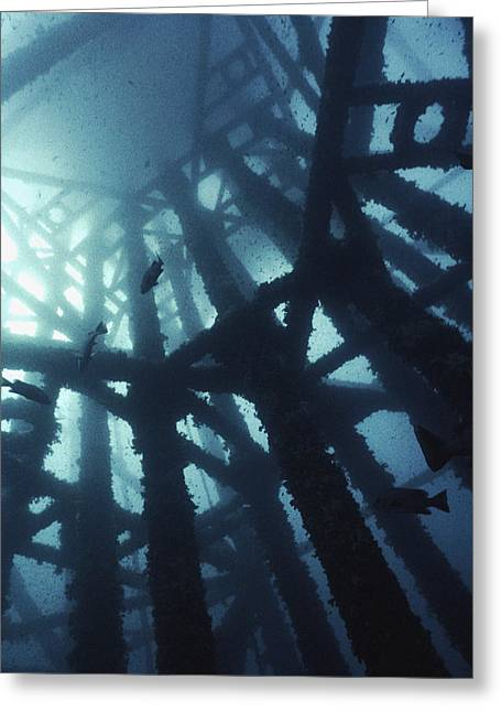 Gas Tower Greeting Cards - Gas Platform Support Tower Greeting Card by Peter Scoones