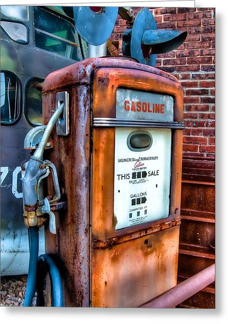 Junk Greeting Cards - Gas Pump Greeting Card by Fred LeBlanc