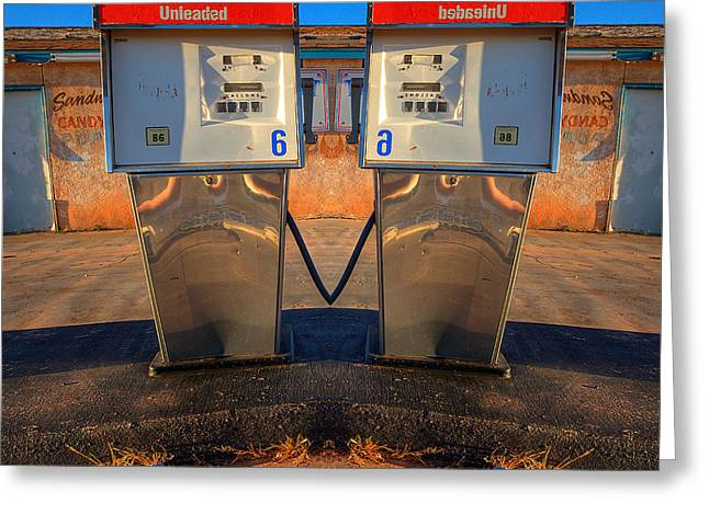 Psychodeliciouspinart Greeting Cards - Gas Pump Sweethearts Greeting Card by Peter Tellone