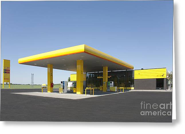 Overhang Greeting Cards - Gas Station Greeting Card by Jaak Nilson