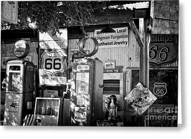 Best Sellers -  - Historic Country Store Greeting Cards - Gas station on Route 66 Greeting Card by Hideaki Sakurai