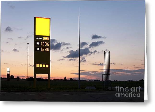 Gas Station Sign Greeting Card by Jaak Nilson
