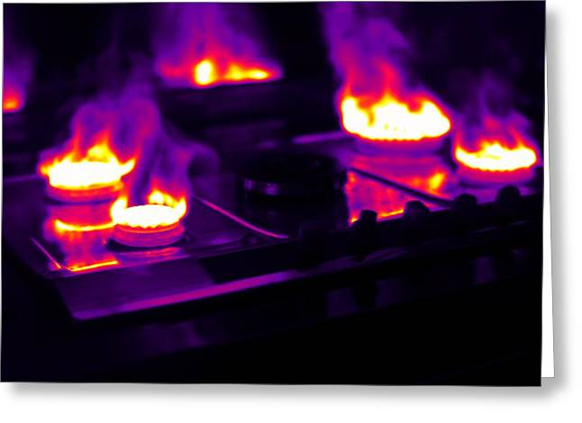 Combusting Greeting Cards - Gas Stove, Thermogram Greeting Card by Tony Mcconnell