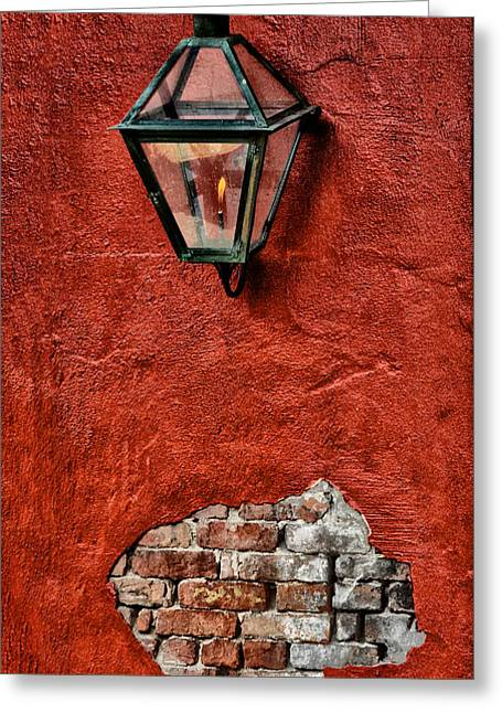 Gaslight Greeting Cards - Gaslight on a Red Wall Greeting Card by Bill Cannon