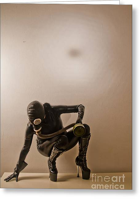 Best Sellers -  - Dungeons Greeting Cards - Gasmask Greeting Card by Dominique De Leeuw
