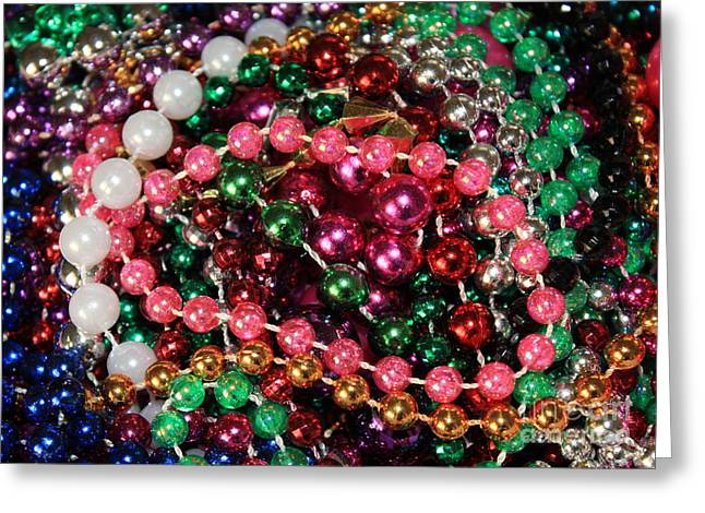 Party Invitations Greeting Cards - Gasparilla Beads 2 Greeting Card by Carol Groenen